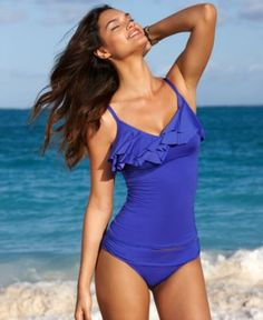 Kenneth Cole Reaction Swimsuit, Over The Shoulder Ruffled Tankini Top & Banded Waist Hipster Brief Bottom - Womens Swim - Macy's