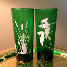 Two rare vintage Anchor Hocking forest green tall glasses by FromTheSeller on Etsy