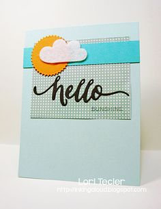 """Hello Sunshine card-designed by Lori Tecler/Inking Aloud, stamps and """"hello"""" die from WPlus9, patterned paper from Pink Paislee, ink from Tsukineko, available at http://www.iheartpapers.com"""