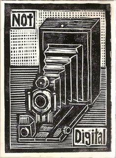 Not Digital - Woodcut by studiobeerhorst on Etsy - Rick Beerhorst Illustrations, Illustration Art, Scratchboard Art, Wow Art, Tampons, Wood Engraving, Woodblock Print, Letterpress, Printmaking