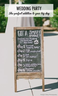 A free & private way for #wedding guests to share #photos of the big day with the happy couple. No need for disposable cameras or #instagram! #chalkboard #sign