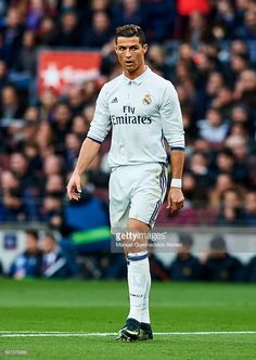 Cristiano Ronaldo of Real Madrid CF looks on during La Liga match between FC Barcelona and Real Madrid CF at Camp Nou Stadium on December 3, 2016 in Barcelona, Spain.