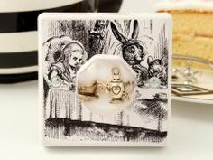 Alice in Wonderland themed Bedroom Light Switch, The Mad Hatters Tea Party British Made Decorative Light Switch