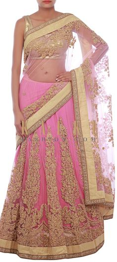 Buy Online from the link below. We ship worldwide (Free Shipping over US$100) http://www.kalkifashion.com/petal-pink-lehenga-saree-embellished-in-pearl-and-thread-embroidery-only-on-kalki.html