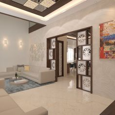 of Villa In Hyderabad. With complete classy look and Neat look. - Living Decor -Renovation of Villa In Hyderabad. With complete classy look and Neat look. - Living Decor - Entrance Lobby Design at Dombivli, Thane Page 306 Living Room Partition Design, Pooja Room Door Design, Room Partition Designs, Partition Ideas, Partition Walls, Wall Design, False Ceiling Living Room, Bedroom False Ceiling Design, Kitchen Room Design