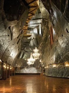 The Wieliczka Salt Mine. The mine, built in the 13th century, produced table…
