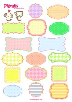 Pigtails Scrapbook Background and Tags