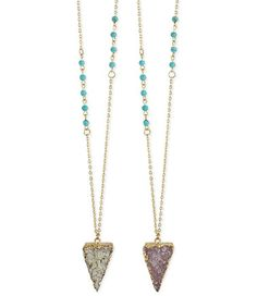 Look at this #zulilyfind! Druzy &Turquoise Triangle Pendant Necklace #zulilyfinds