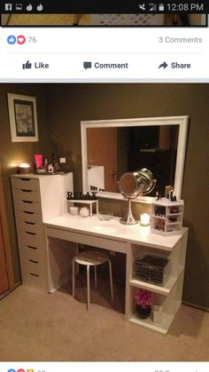ikea vanity desk how to organize your vanity new home ideas rock vanities and ma. - - ikea vanity desk how to organize your vanity new home ideas rock vanities and makeup organization ikea vanity table ideas Eyelashes Tips Styles Tutori. Rangement Makeup, Vanity Room, Diy Vanity Table, Vanity Mirrors, Vanity Decor, Table Mirror, Corner Vanity, Diy Table, Bedroom With Vanity