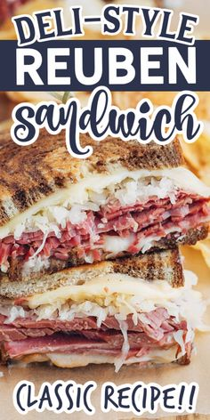 This classic Reuben sandwich recipe layers tender corned beef with Swiss cheese, sauerkraut, and Russian dressing on griddled marble rye.  An easy to make, deli-style indulgence! #sandwich #reuben #cornedbeef Reuben Sandwich, Party Sandwiches, Corned Beef Sandwich, Corned Beef Recipes, Meat Sandwich, Healthy Sandwiches, Soup And Sandwich, Appetizer Sandwiches, Grilled Sandwich