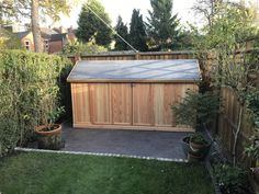 We love creating bespoke designs that suit you and your needs. We left this install feeling very happy, smiling fro ear to ear. Get in touch today!! Garbage Can Storage, Bicycle Storage, Bike Shed, Bespoke Design, Outdoor Furniture, Outdoor Decor, Sheds, Backyard, Ear