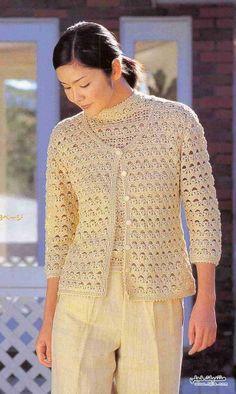 Chorrilho de ideias: Conjunto blusa e casaco beije em crochet