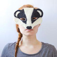 x Handmade Felted Badger Mask