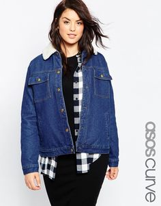 Image 1 of ASOS CURVE Denim Jacket with Borg Collar in Rich Blue
