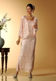 Soulmates C710 Crochet Beaded Lace Silk Fit-n-Flare Ankle Length 3 pc Jacket Dress (Missy, Plus Sizes) - Mother of the Wedding