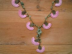 crochet flower necklace pink carnation by PashaBodrum on Etsy