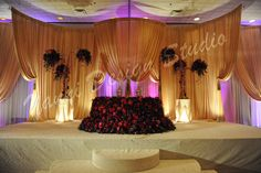 sweetheart table for bride and groom completely made of fresh flowers