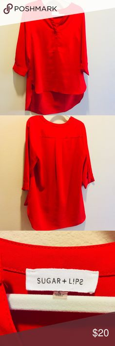 Sugar+L!ps Red Tunic Length Blouse 3/4 length sleeves, henley neckline — 100% polyester Sugarlips Tops Blouses