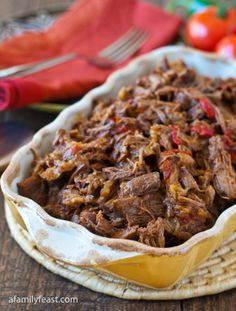 Mexican Shredded Beef by A Family Feast. Mexican Shredded Beef - Simple to prepare and super delicious! This fork-tender Mexican shredded beef is delicious on it's own, or in other recipes.