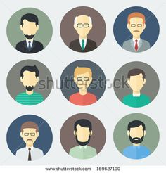 Colorful Male Faces Circle Icons Set in Trendy Flat Style by MastakA, via Shutterstock