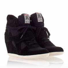 Womens Bowie Wedge Sneaker Black  Suede 330008 $195