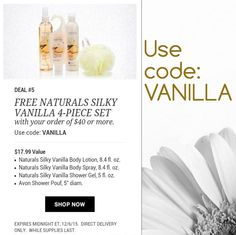 Day 5 of the 12 Days of Christmas. FREE Naturals Silky Vanilla 4 piece set with any $40.00 Avon order shipped directly to your home. Go to: www.youravon.com/lcrayton & use Promo Code: Baguette Expires Midnight 12/5/15 While supplies last