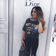 Let's go to Selfridges and take a picture at Dior  bought this t shirt at the men's section of a vintage shop, cut it up and now it's my favourite  picture by @_shakilakay