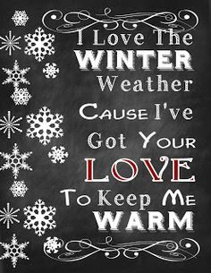 The Answer Is Chocolate: I Love The Winter Weather Snowflake and Valentine'...