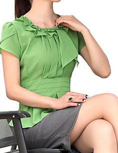Blusa Da donna Casual Semplice / Moda città Estate,Tinta unita Colletto increspato Bianco / Verde Manica corta Sottile