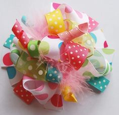boutique FUNKY fun PASTEL RAINBOW hair bow clip by andjane on Etsy, $12.99 (birthday colors!)