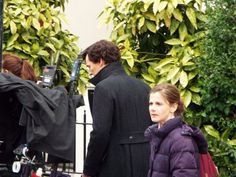 SHERLOCK (BBC) ~ Benedict Cumberbatch (Sherlock Holmes) and Louise Brealey (Molly Hooper) behind the scenes during Season 4 filming on April 25, 2016.