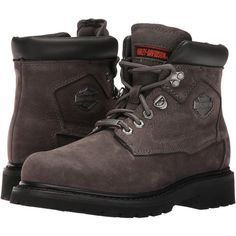 Harley-Davidson Bayport (Grey) Women's Lace-up Boots ($75) ❤ liked on Polyvore featuring shoes, boots, ankle boots, grey, short boots, leather lace up boots, lace up boots, short lace up boots and gray ankle boots