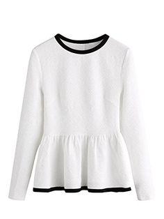70e02e43d5432 Romwe Women s Elegant Ruffle Hem Long Sleeve Textured Peplum Top