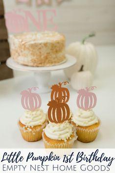Pink Pumpkin Cupcake Toppers, Little Pumpkin Party, Pumpkin Truck Smash Cake. Pumpkin First Birthday Fall First Birthday, Pumpkin First Birthday, Birthday Ideas, Little Pumpkin Party, Pumpkin Birthday Parties, Pink Pumpkins, Pumpkin Cupcakes, Themed Cupcakes, Savoury Cake