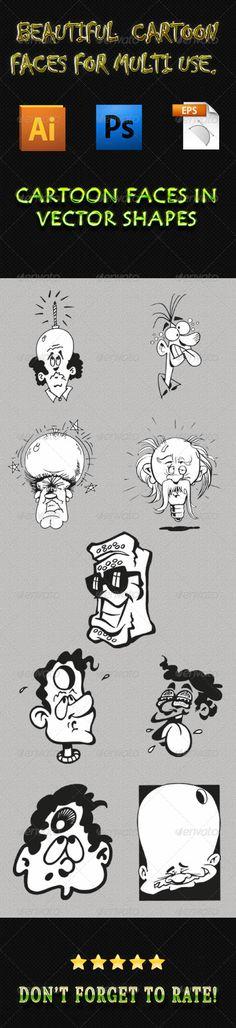 Cartoon Faces 01 - Characters Vectors