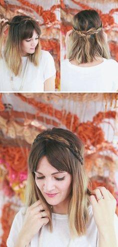 Half Up Braided Headband for Mid-length Hair