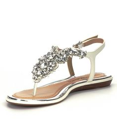 df6f3c6cc99 Eggshell Antonio Melani Aleta Jeweled Tstrap Sandals