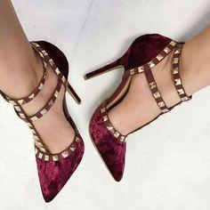 Shoespie Burgundy Velvet Rivets T Strap Stiletto Heels