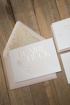 Hoja oro rosa formales invitaciones de boda por JustInviteMe
