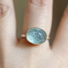 Flower Aquamarine Ring  3  Ready To Ship by louisagallery on Etsy, $145.00