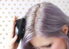brushing glitter in hair