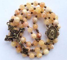 Italian Onyx Rosary, Catholic Gift, Italian Onyx Beads, Catholic Rosary, Immaculate Heart of Mary, Bronze Crucifix, Catholic Prayer Beads on Etsy, $60.00