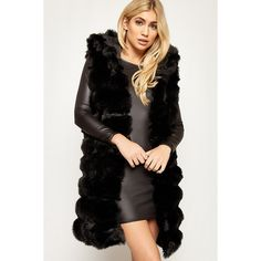 WearAll Hooded Faux Fur Gilet ($62) ❤ liked on Polyvore featuring outerwear, vests, black, faux fur gilet, faux fur hooded vest, sleeveless waistcoat, faux fur vest and sleeveless hooded vest