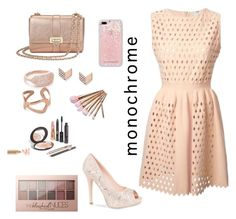 """""""nude/rose gold"""" by kylie-schmuckel ❤ liked on Polyvore featuring Fendi, Aspinal of London, Native Gem, Ekria, FOSSIL, Maybelline, Lauren Lorraine and Rebecca Minkoff"""