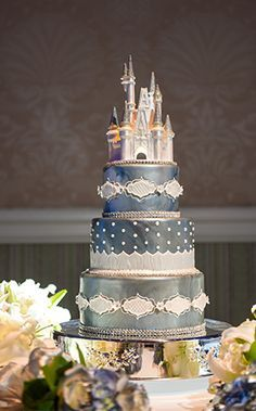 Disney Wedding Cake - love this shimmery blue Cinderella-themed cake! | Disney Fairy Tale Weddings and Honeymoon
