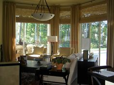 window treatments for large windows | Bamboo shades and drapes for large windows in living room