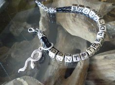 Don't Tread on Me Leather Charm Bracelet by ElliTs on Etsy, $20.00