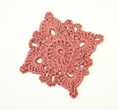 Eco crochet coaster - dusky pink granny square coasters in organic fairtrade cotton by StitchedByAdele on Etsy