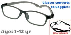 26b88297053  7-12 yrs  Kids Glasses - Flexible 9007C3 Grey with Black 50 Size + Goggles  Conversion Kit