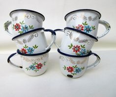 Your place to buy and sell all things handmade Coffee Set, Coffee Cups, Stella Art, Vintage Enamelware, Blue Accents, Blue Flowers, Shabby, Enamel Ware, Red And Blue